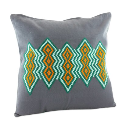 Diamonds Embroidered Cotton Pillow Cover