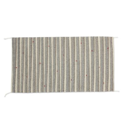 Zapotec Hand Woven Gray/Ivory Area Rug