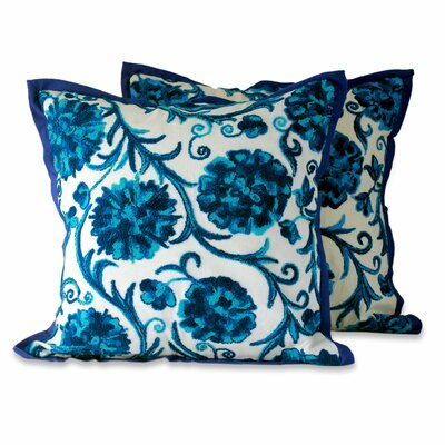 Dahlias Floral Embroidered Cotton Pillow Cover