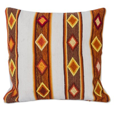 Diamonds Artisan Crafted with Geometric Motif Wool Pillow Cover