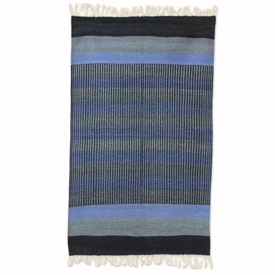 Fair Trade Striped Blue Shadow Harmony Expertly Hand Woven Indian Cotton Home Decor Area Rug