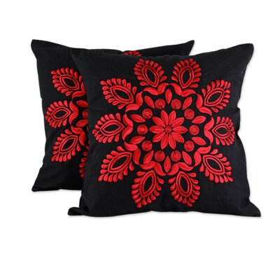 Splendor Embroidered Floral Cotton Pillow Cover