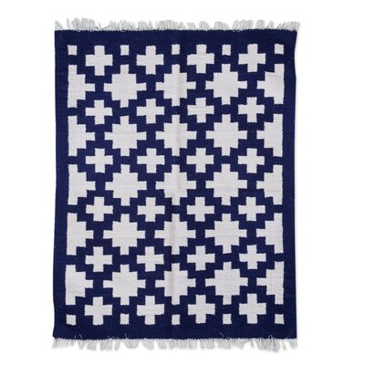 Hand-Loomed Blue/White Accent Rug