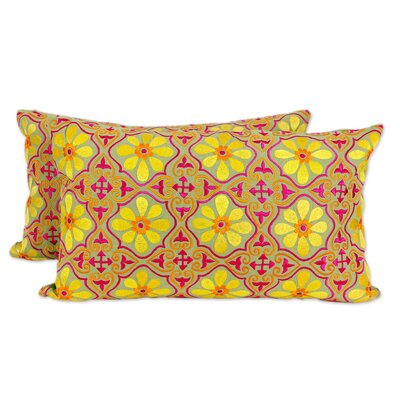 Cryptic Flowers Long Floral Embroidered Cotton Pillow Cover