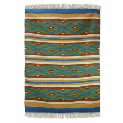 Hand-Woven Green/Blue Area Rug