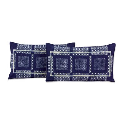 Hmong Windows Elongated Hill Tribe Batik Cotton Pillow Cover