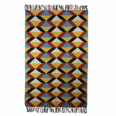 Hand-Loomed Yellow/Blue Area Rug
