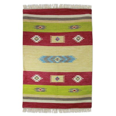 Hand-Loomed Beige/Pink Area Rug