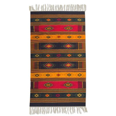 Weare Multicolored Colors of Life Expertly Hand Woven Mexican Wool Home Decor Area Rug