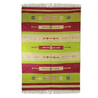Hand-Woven Lime/Pink Area Rug