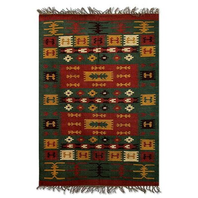 Hand-Loomed Green/Orange Area Rug