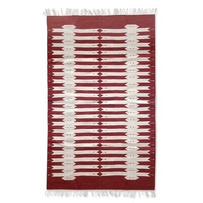 Weare Hand-Loomed Red/White Area Rug