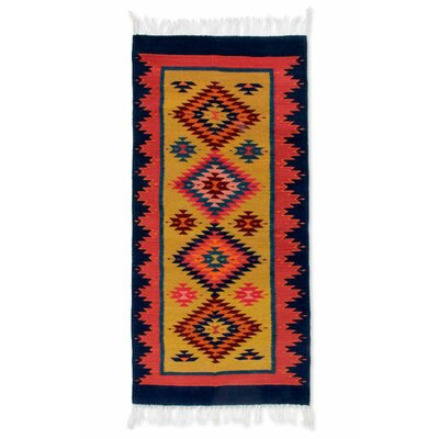 Weare Hand-woven Blue/Orange Area Rug