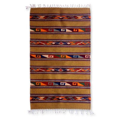 Hand-Loomed Brown Area Rug