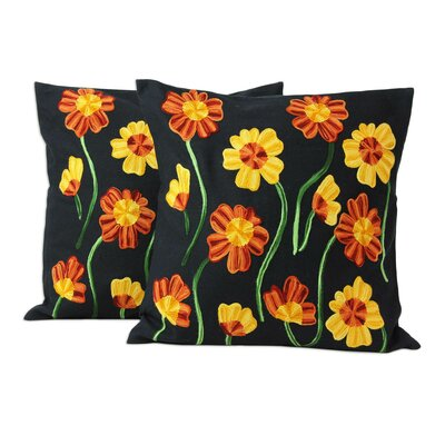 Midnight Marigolds Floral Chainstitch Embroidery Cotton Pillow Cover