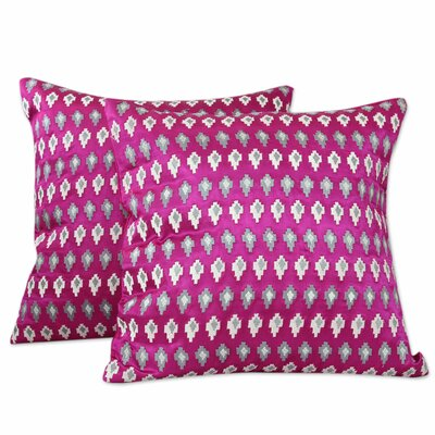Midnight Desert Embroidered Stars Satin Pillow Cover Color: Magenta