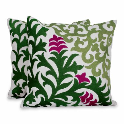 Magenta Blooms Floral Embroidered Cotton Pillow Cover
