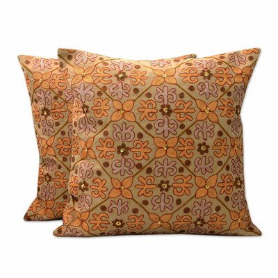 Morning Marigolds Chainstitch Pillow Cover