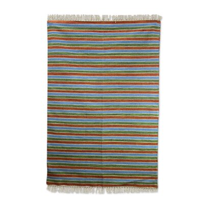 Hand-Woven Blue/Brown/Green Area Rug