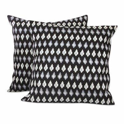 Midnight Desert Embroidered Stars Satin Pillow Cover Color: Black