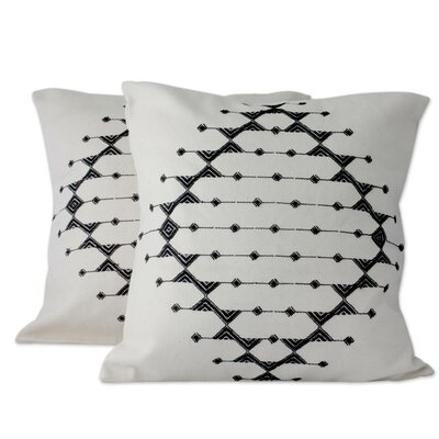 Monochrome Galaxy Patterned Cotton Pillow Cover