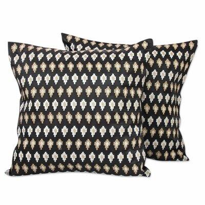 Midnight Desert Embroidered Stars Satin Pillow Cover Color: Desert