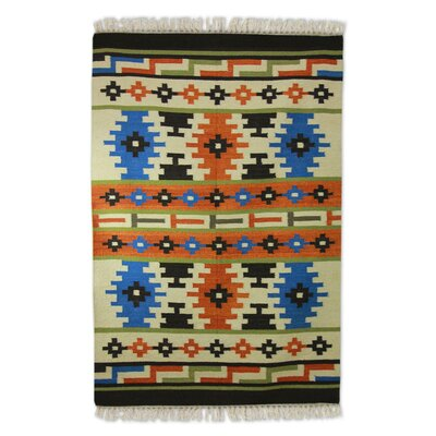 Hand-Woven Orange/Blue Area Rug