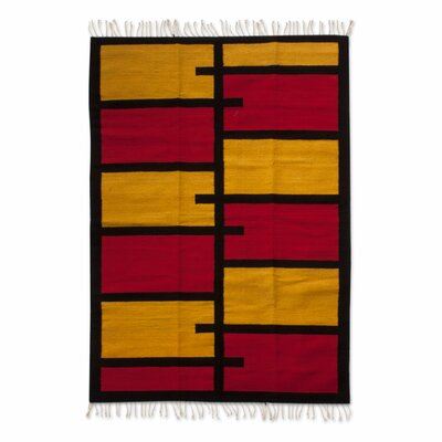 Zapotec Hand-Woven Orange/Red Area Rug