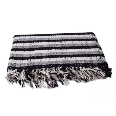 Warmth Striped Handwoven Undyed Wool Throw Blanket