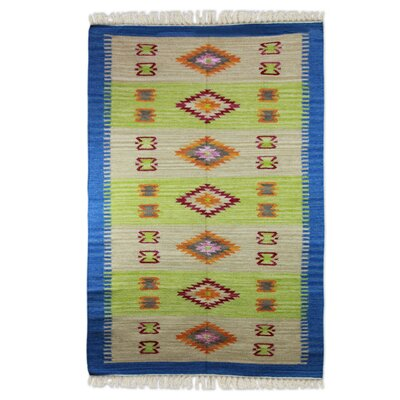 Hand-Woven Lime/Beige Area Rug