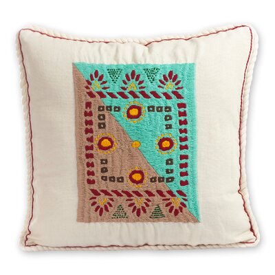 My Tradition Artisan Crafted Folk Art Embroidered Cotton Pillow Cover