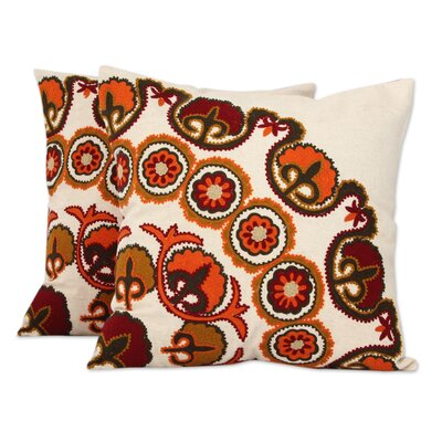 Marigolds Ecru with Floral Embroidery Cotton Pillow Cover