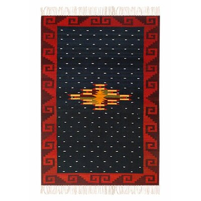 Zapotec Hand-Loomed Black/Red Area Rug