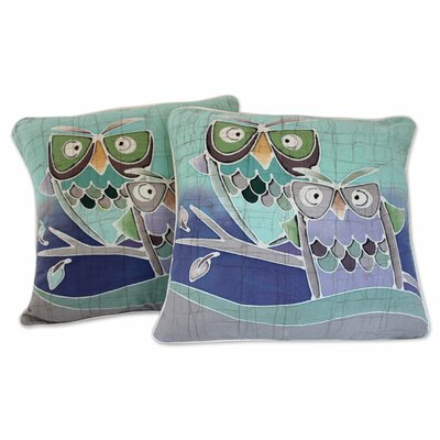 Mischievous Owls Artisan Crafted Pillow Cover