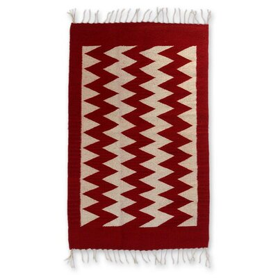 Hand-Woven Red/White Area Rug