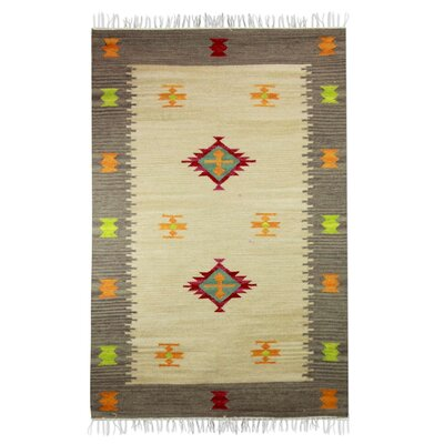 Hand-Loomed Beige/Gray Area Rug
