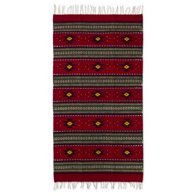 Oaxaca Hand-Woven Red/Green Area Rug