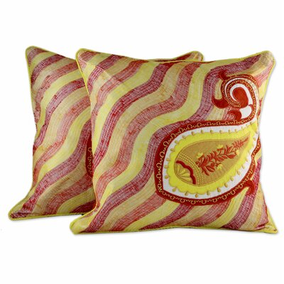 Paisley Sun Embroidered Applique Pillow Cover