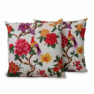 Peacock Kingdom Floral Silkscreen Print Cotton Pillow Cover