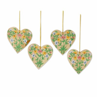 Holiday Hearts Hand-crafted Christmas with Flower Motifs Ornament