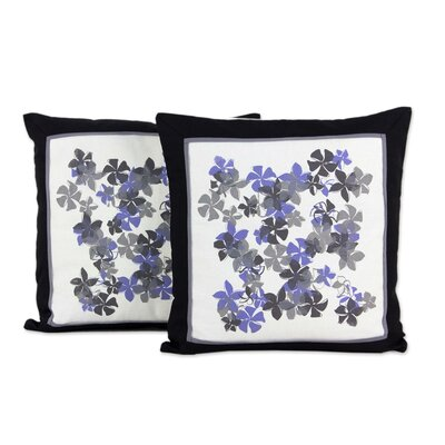 Plumeria Artisan Crafted with Flowers Cotton Pillow Cover
