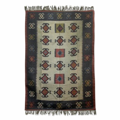 Hand-Loomed Black/Beige Area Rug