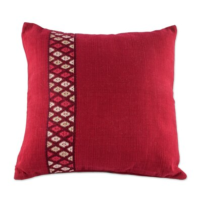 Red Tecpan Diamonds Handwoven Cotton Pillow Cover