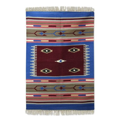 Hand-Woven Red/Blue Area Rug
