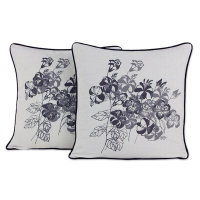Hibiscus Artisan Crafted Floral Cotton Pillow Cover