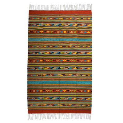 Weare Hand-Woven Green Area Rug