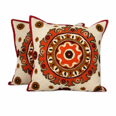Mandalas Embroidery Cotton Pillow Cover