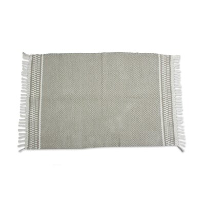 Hand-Woven Green/Off White Area Rug