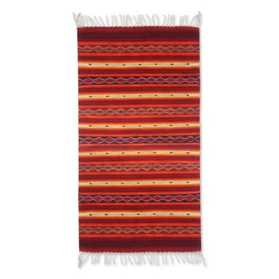 Weare Hand-Loomed Red Area Rug