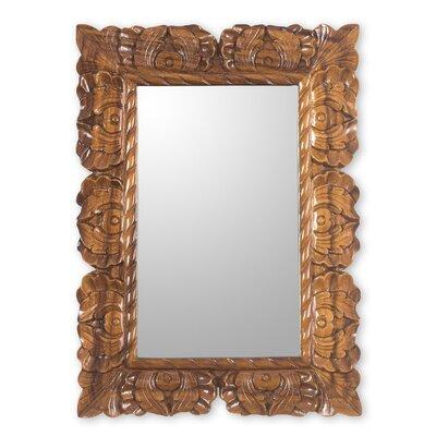 Novica Naturally Baroque Hand Carved Conacaste Wood Wall Mirror